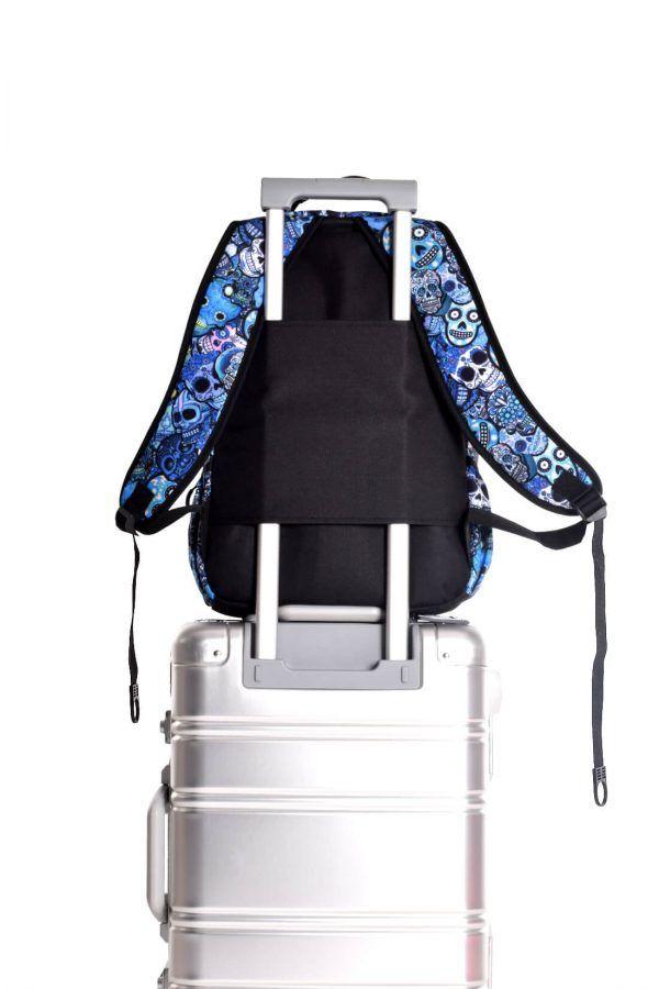 rucksaecke mit led licht tokyoto-luggage BLUE SKULLS 3