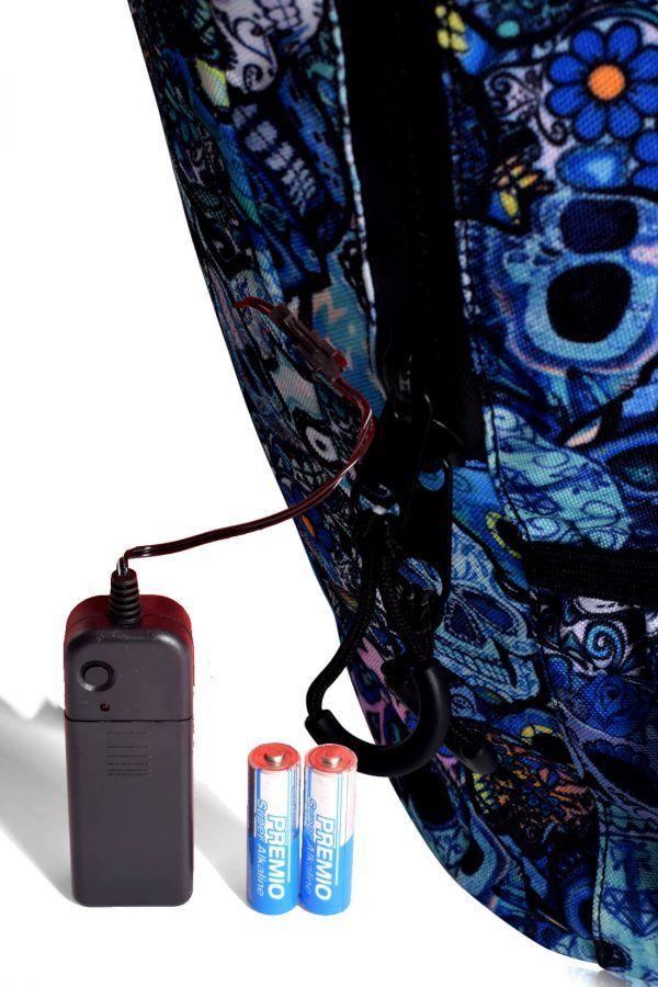 rucksaecke mit led licht tokyoto-luggage BLUE SKULLS 6