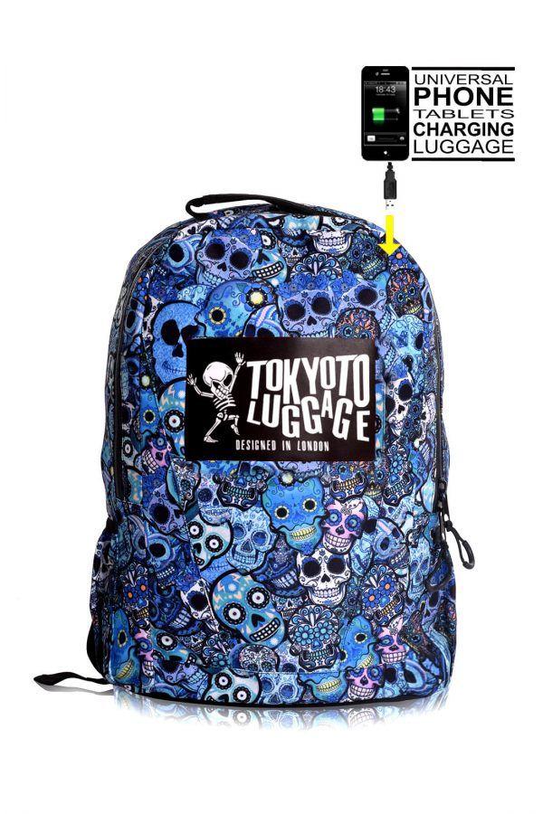 rucksaecke mit led licht tokyoto-luggage BLUE SKULLS