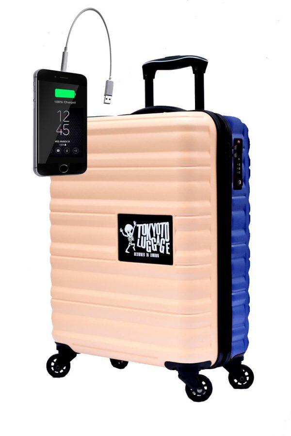 Kindertrolley Kindergepäck Reisekoffer Hartschalen-Koffer Trolley Rollkoffer Reisekoffer mit TSA-Schloss und 4 Rollen BEIGE BLUE