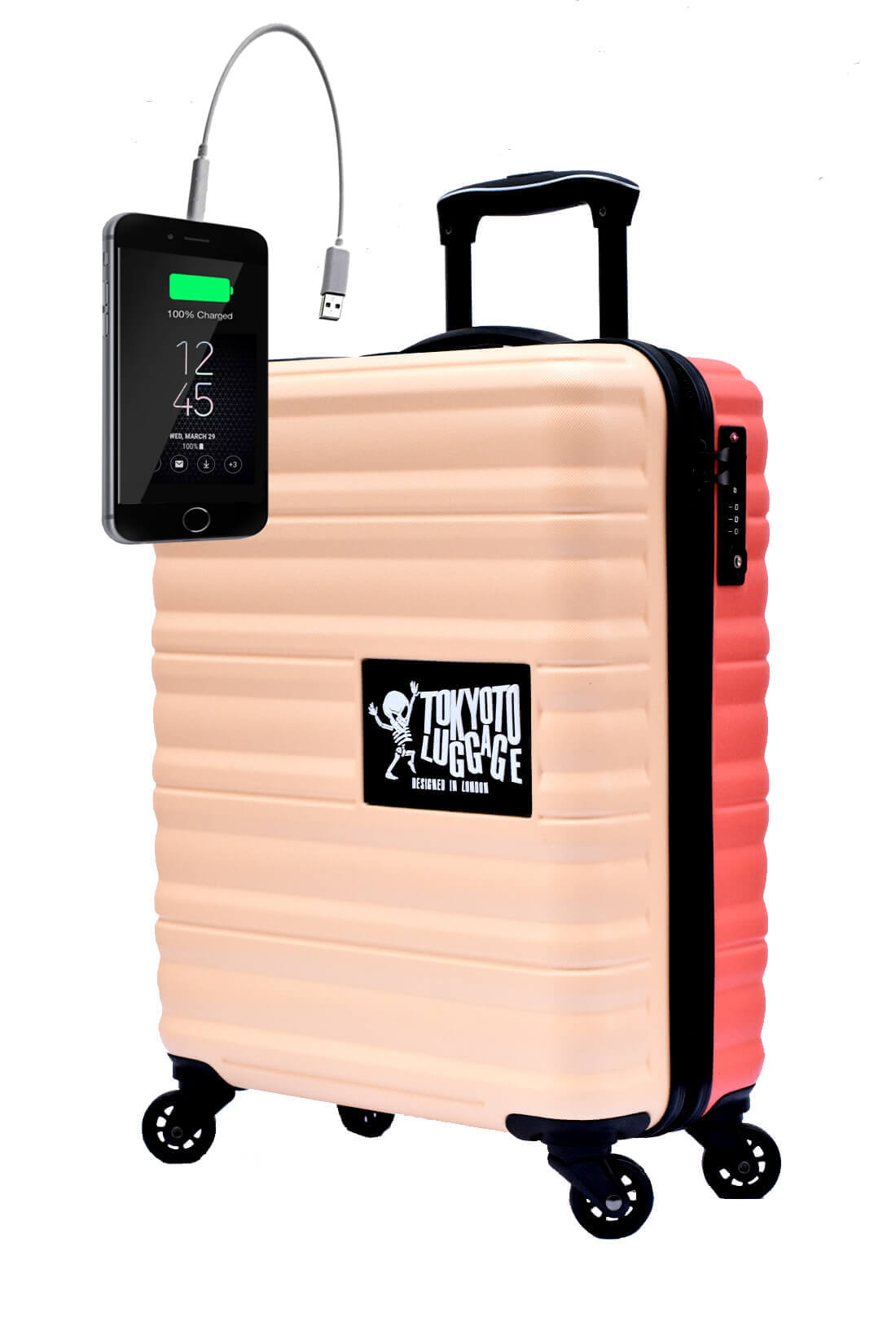 Kindertrolley Kindergepäck Reisekoffer Hartschalen-Koffer Trolley Rollkoffer Reisekoffer mit TSA-Schloss und 4 Rollen BEIGE CORAL