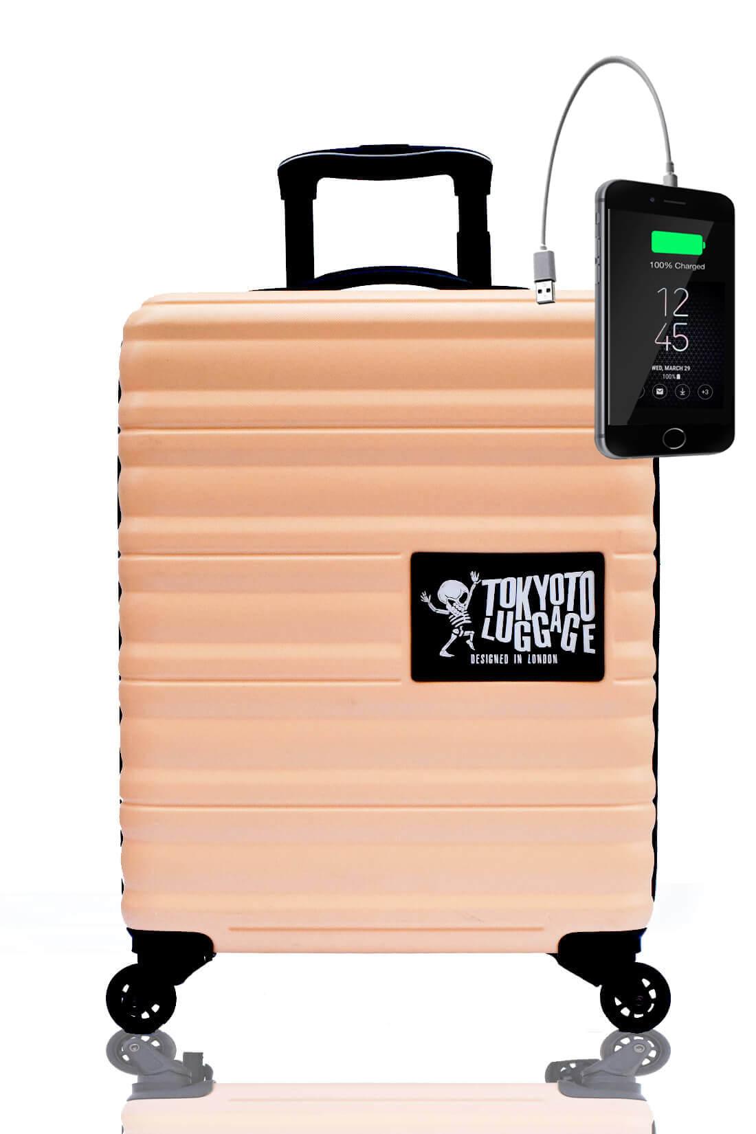 Kindertrolley Kindergepäck Reisekoffer Hartschalen-Koffer Trolley Rollkoffer Reisekoffer mit TSA-Schloss und 4 Rollen BEIGE