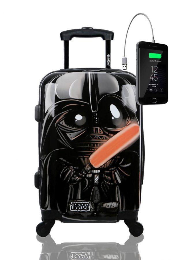 Kindertrolley Kindergepäck Reisekoffer Hartschalen-Koffer Trolley Rollkoffer Reisekoffer mit TSA-Schloss und 4 Rollen BLACK EMPIRE