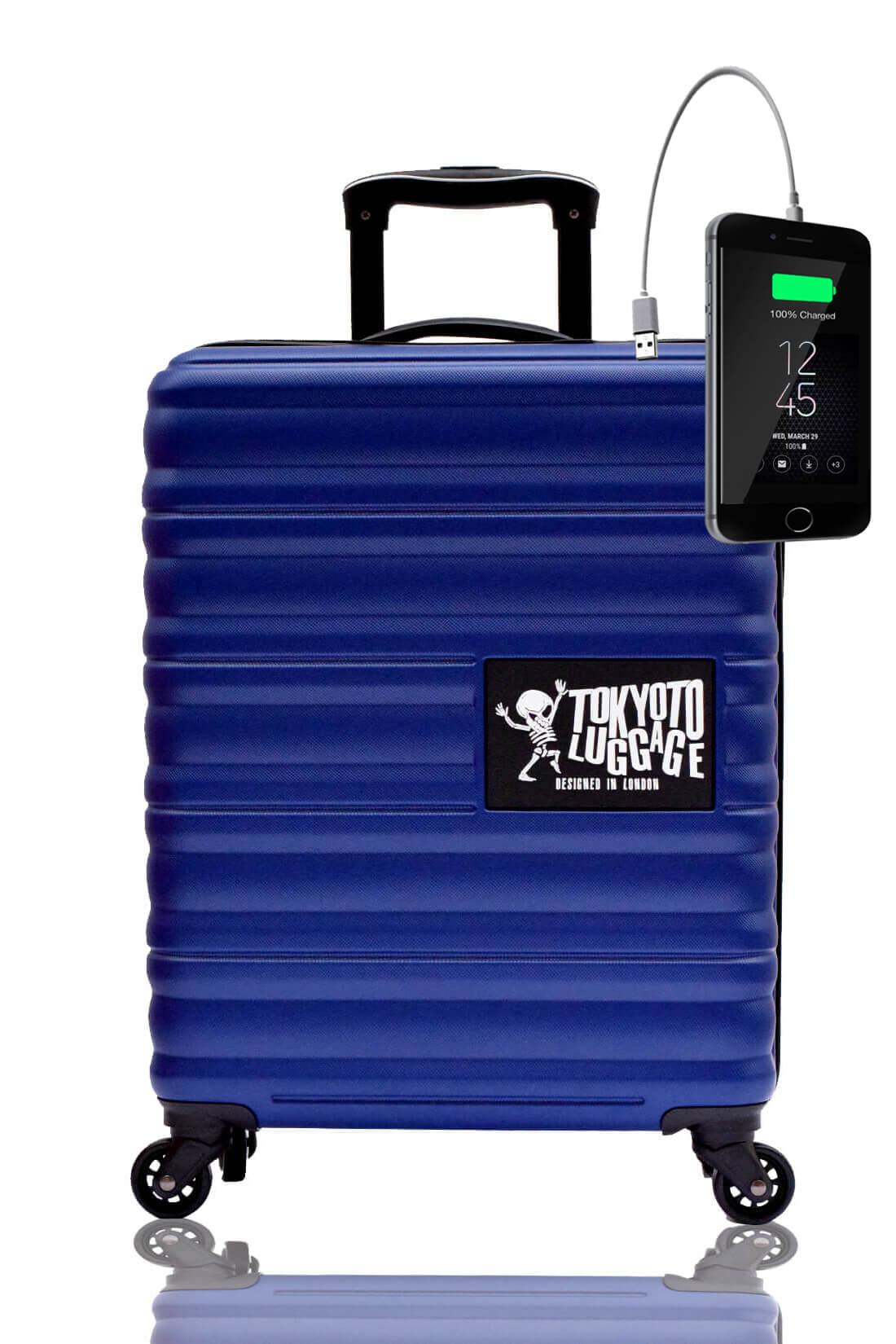 Kindertrolley Kindergepäck Reisekoffer Hartschalen-Koffer Trolley Rollkoffer Reisekoffer mit TSA-Schloss und 4 Rollen BLUE MARINE
