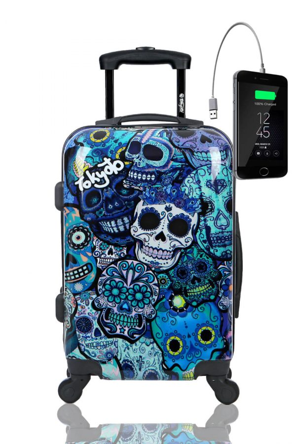 Kindertrolley Kindergepäck Reisekoffer Hartschalen-Koffer Trolley Rollkoffer Reisekoffer mit TSA-Schloss und 4 Rollen BLUE SKULLS