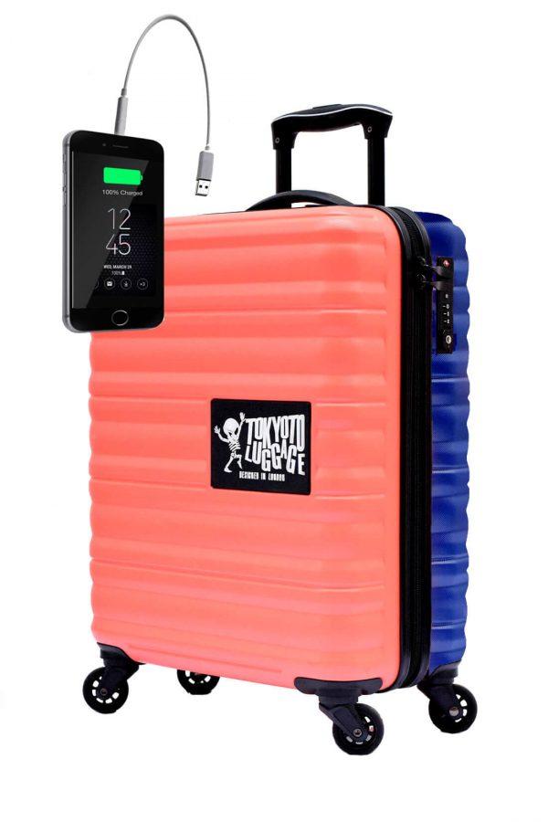 Kindertrolley Kindergepäck Reisekoffer Hartschalen-Koffer Trolley Rollkoffer Reisekoffer mit TSA-Schloss und 4 Rollen CORAL BLUE