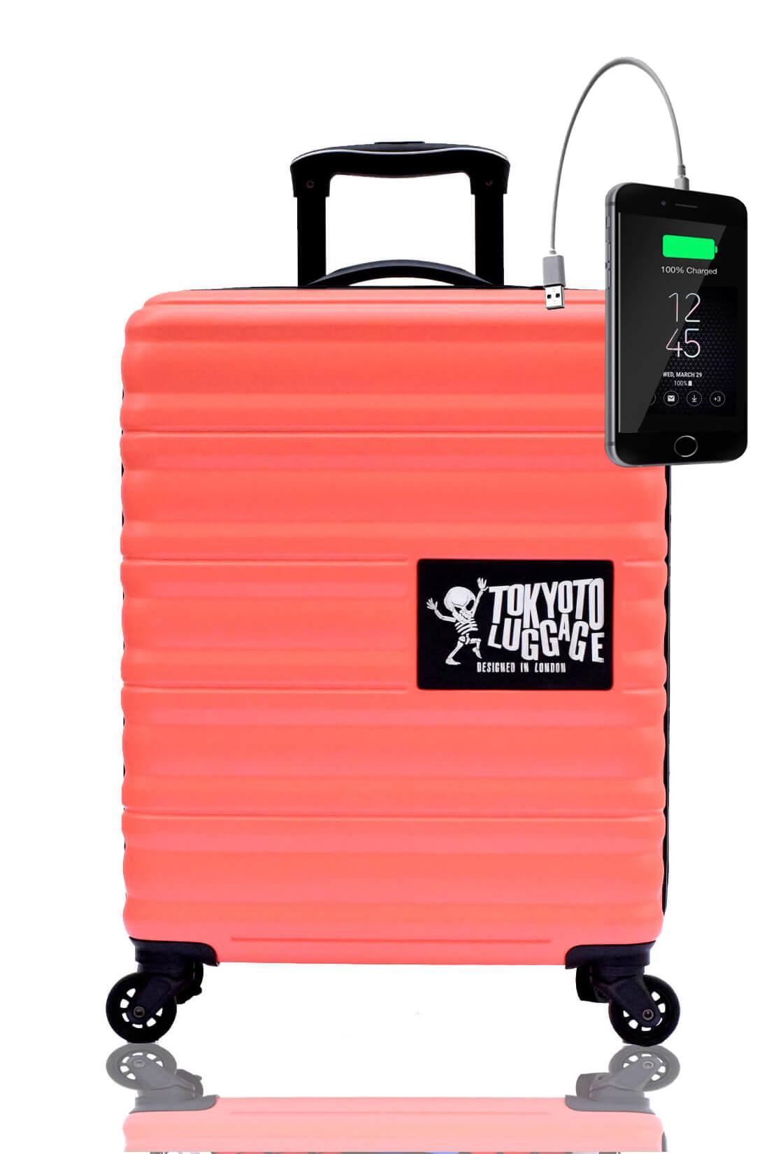 Kindertrolley Kindergepäck Reisekoffer Hartschalen-Koffer Trolley Rollkoffer Reisekoffer mit TSA-Schloss und 4 Rollen CORAL