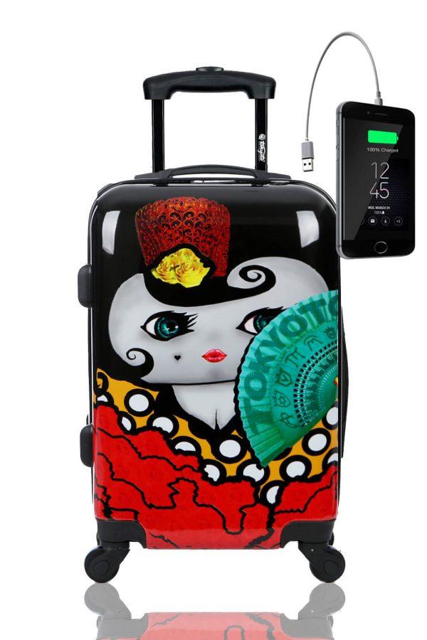 Kindertrolley Kindergepäck Reisekoffer Hartschalen-Koffer Trolley Rollkoffer Reisekoffer mit TSA-Schloss und 4 Rollen FLAMENCA
