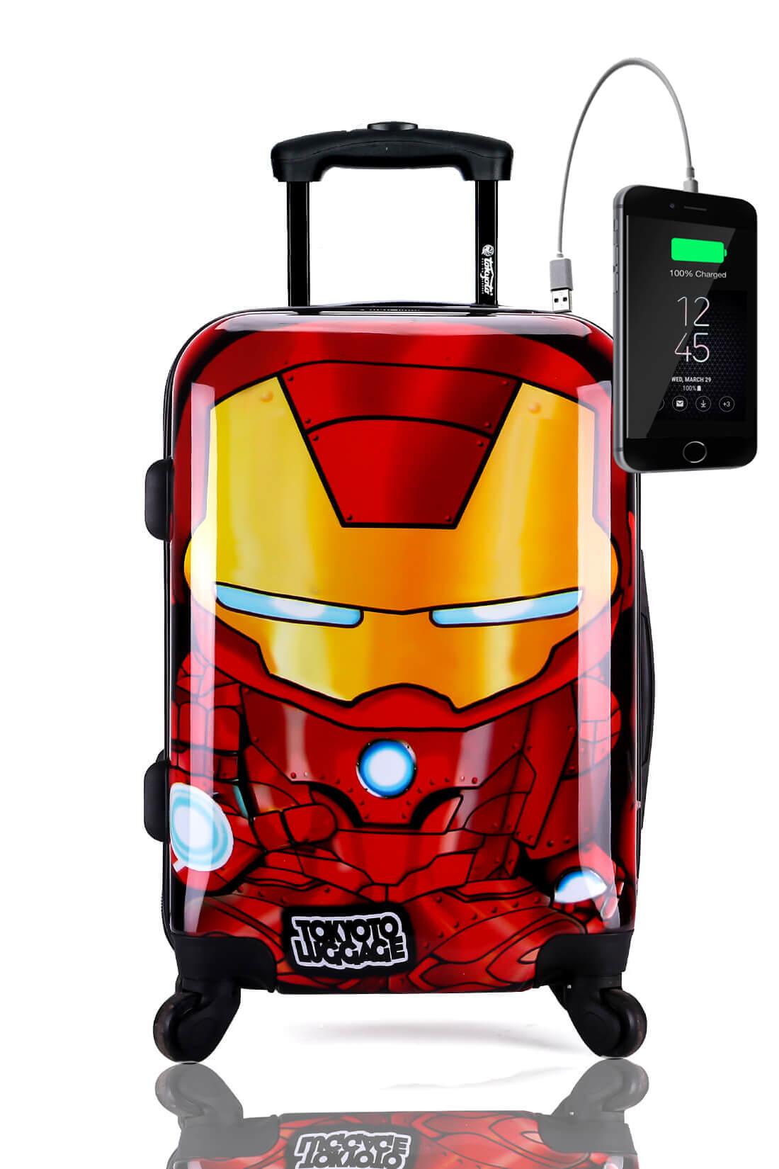 Kindertrolley Kindergepäck Reisekoffer Hartschalen-Koffer Trolley Rollkoffer Reisekoffer mit TSA-Schloss und 4 Rollen IRON BOY