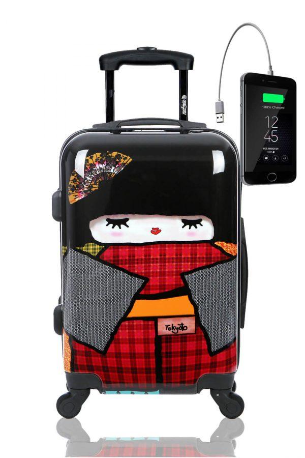 Kindertrolley Kindergepäck Reisekoffer Hartschalen-Koffer Trolley Rollkoffer Reisekoffer mit TSA-Schloss und 4 Rollen JAPAN DOLL