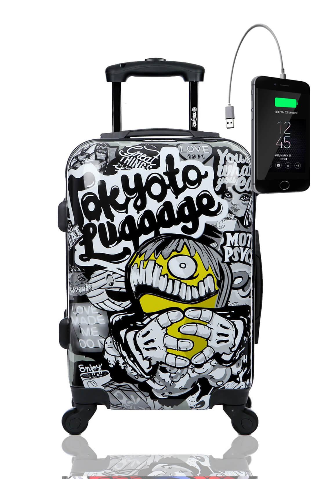 Kindertrolley Kindergepäck Reisekoffer Hartschalen-Koffer Trolley Rollkoffer Reisekoffer mit TSA-Schloss und 4 Rollen MAD COOL
