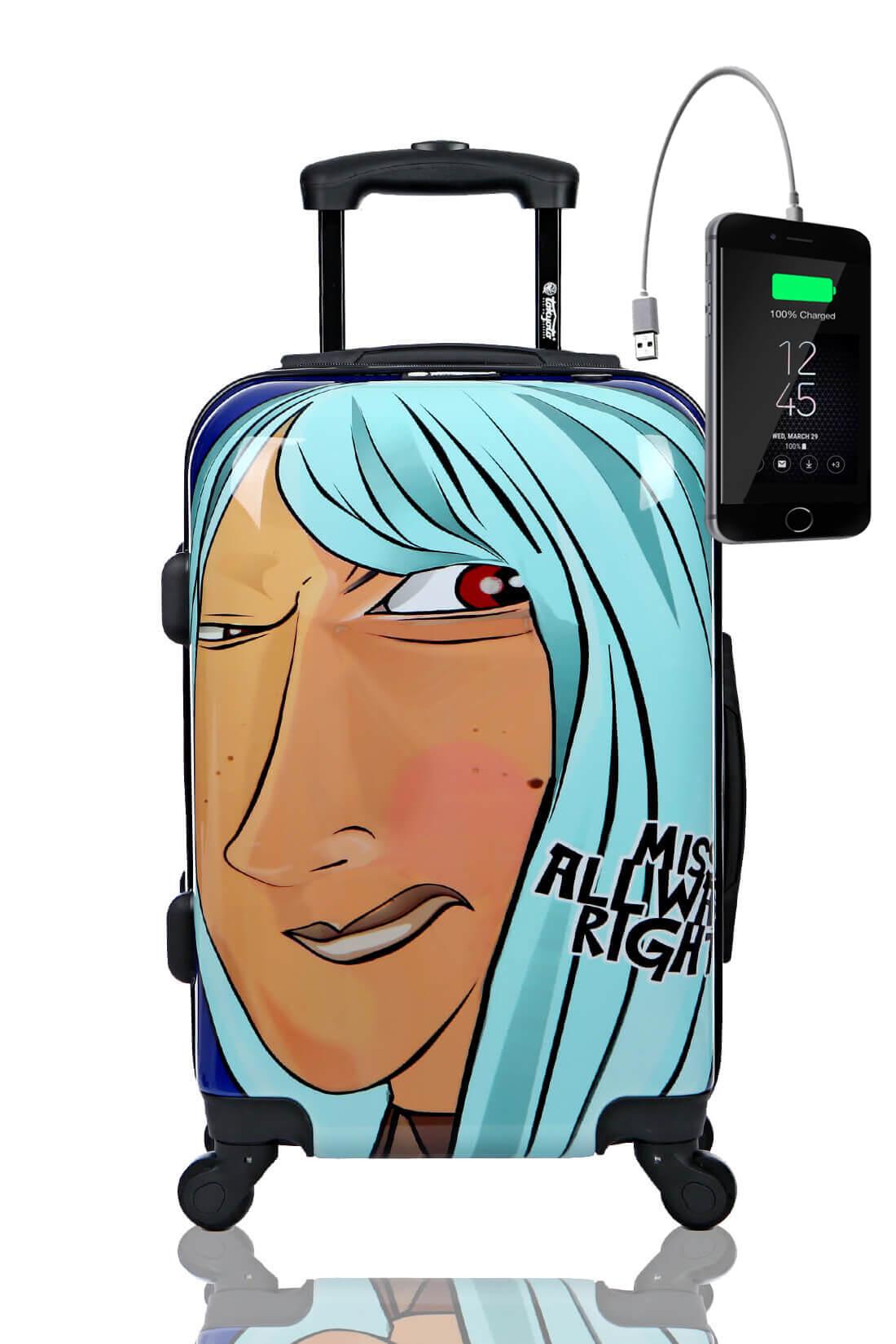 Kindertrolley Kindergepäck Reisekoffer Hartschalen-Koffer Trolley Rollkoffer Reisekoffer mit TSA-Schloss und 4 Rollen MISS ALWAYS RIGHT