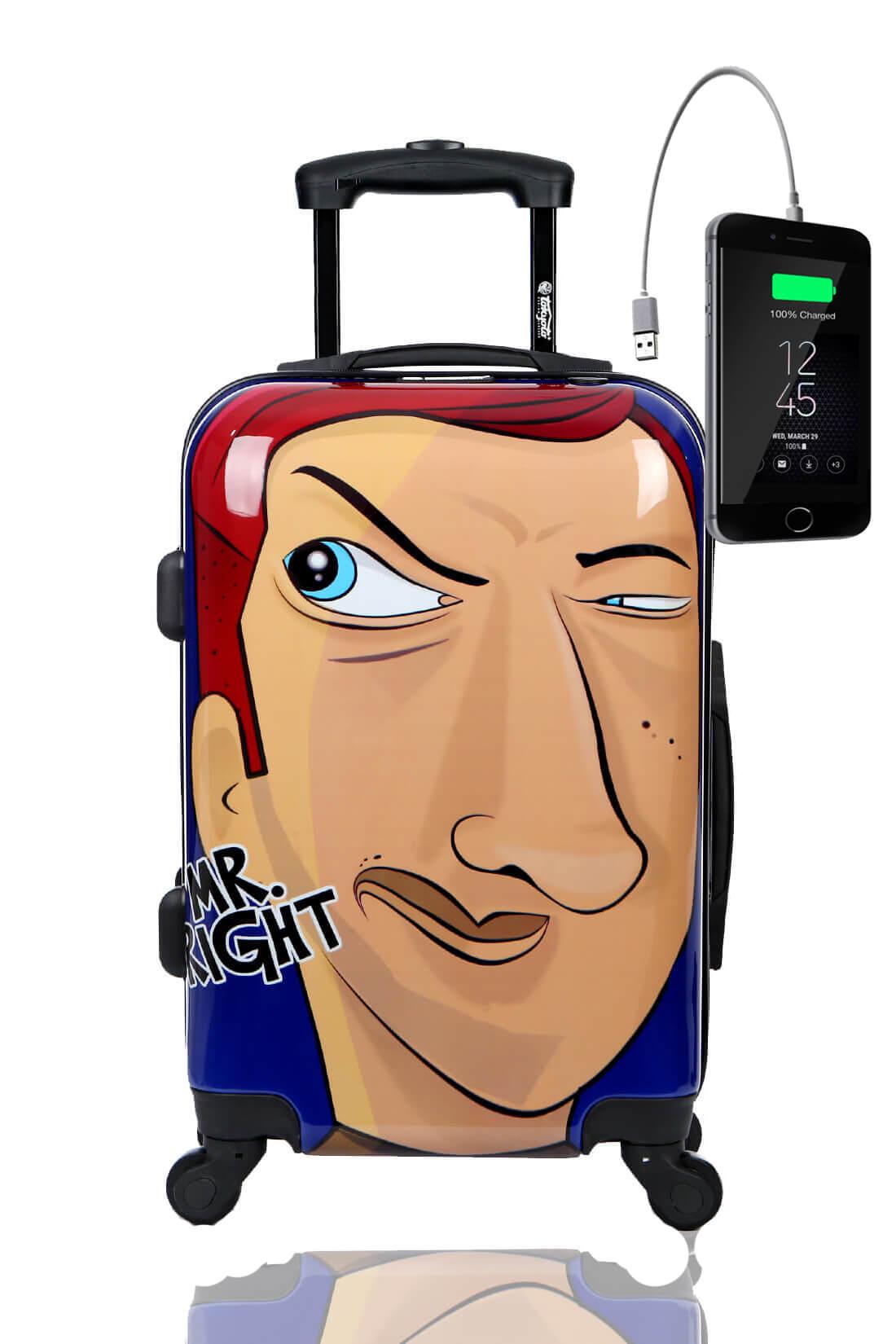 Kindertrolley Kindergepäck Reisekoffer Hartschalen-Koffer Trolley Rollkoffer Reisekoffer mit TSA-Schloss und 4 Rollen MISTER RIGHT