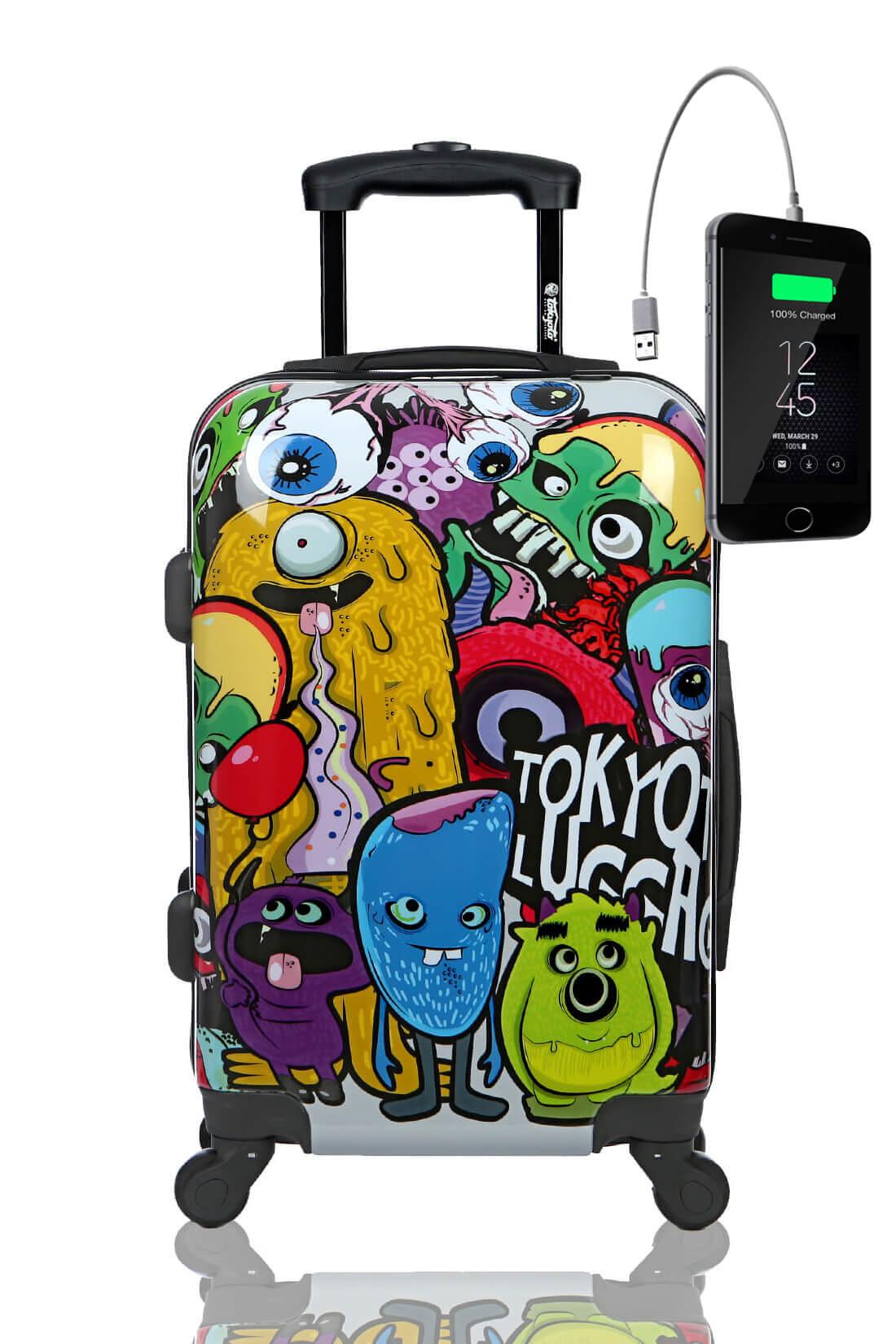 Kindertrolley Kindergepäck Reisekoffer Hartschalen-Koffer Trolley Rollkoffer Reisekoffer mit TSA-Schloss und 4 Rollen MONSTERS ZOMBIES