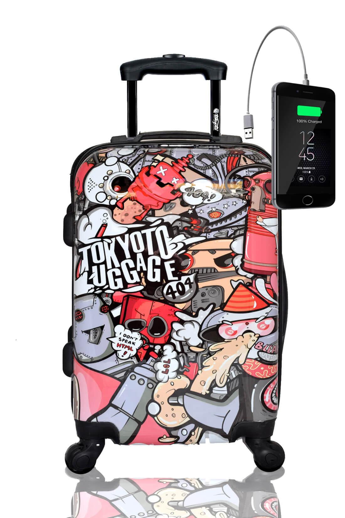 Kindertrolley Kindergepäck Reisekoffer Hartschalen-Koffer Trolley Rollkoffer Reisekoffer mit TSA-Schloss und 4 Rollen PARTY ROBOTS