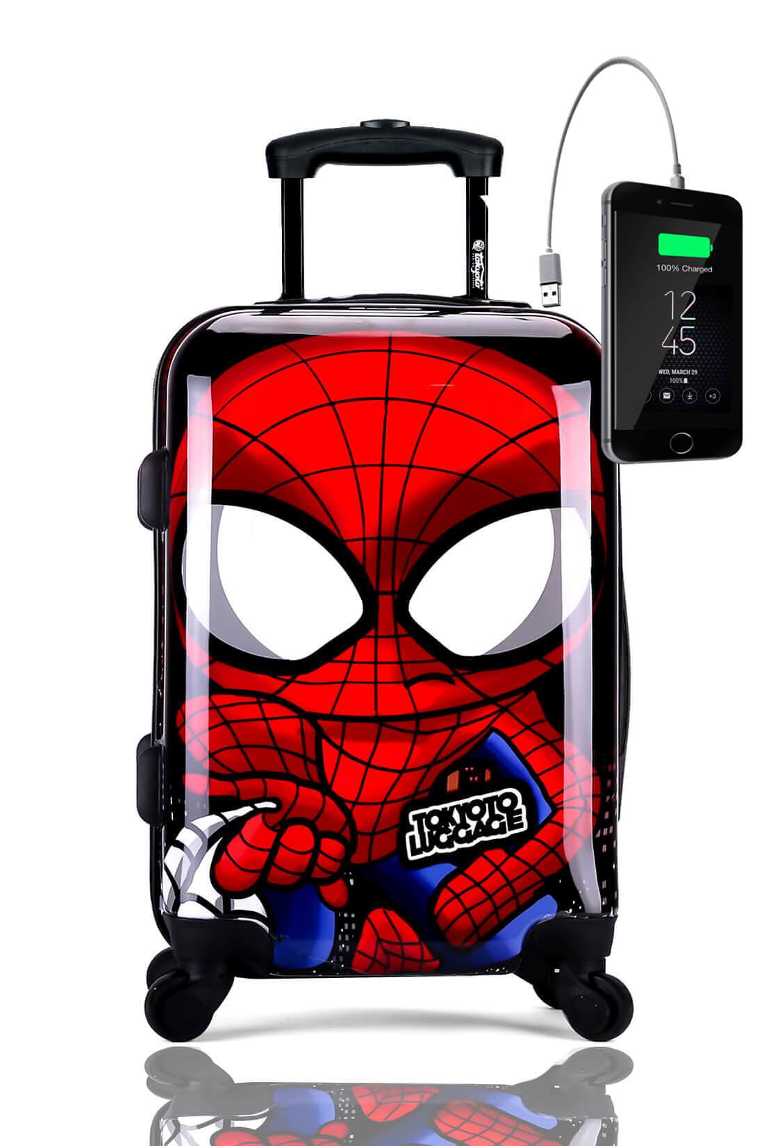 Kindertrolley Kindergepäck Reisekoffer Hartschalen-Koffer Trolley Rollkoffer Reisekoffer mit TSA-Schloss und 4 Rollen SPIDER BOY