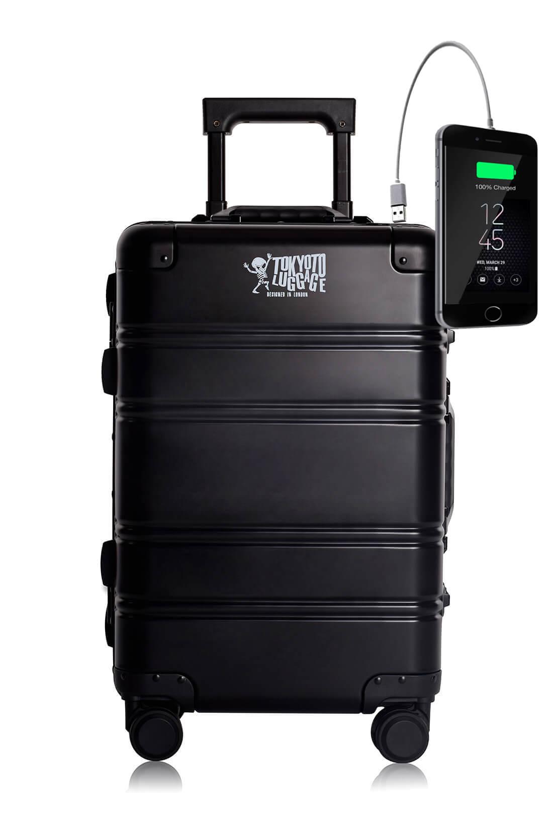 Metal Carry-on Luggage Hartschalen Trolley Koffer Rollkoffer aus hochwertiger Aluminium Legierung mit 4 Rollen und zweifachem TSA-Zahlenschloss BLACK LOGO