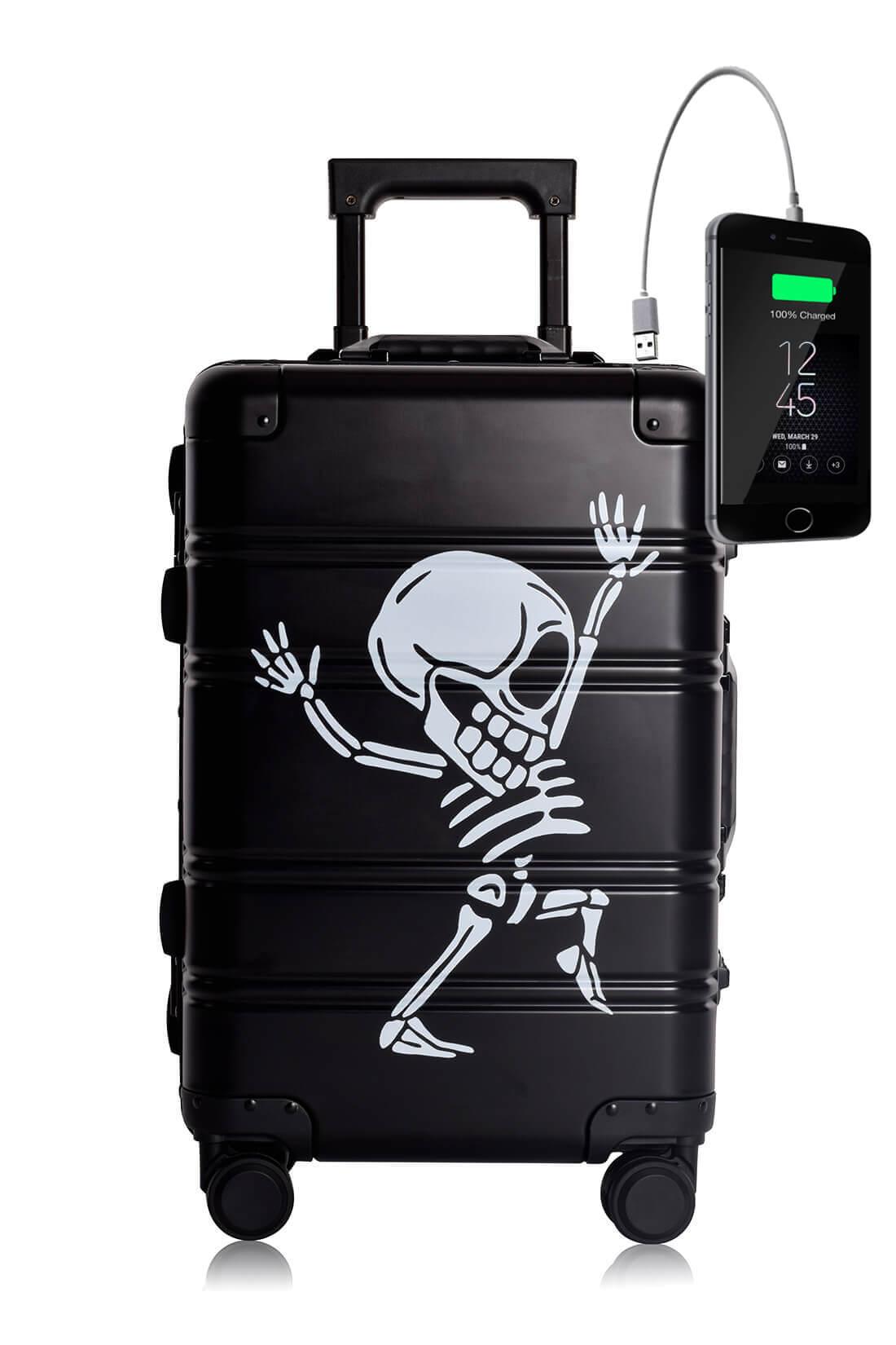 Metal Carry-on Luggage Hartschalen Trolley Koffer Rollkoffer aus hochwertiger Aluminium Legierung mit 4 Rollen und zweifachem TSA-Zahlenschloss BLACK SKULL