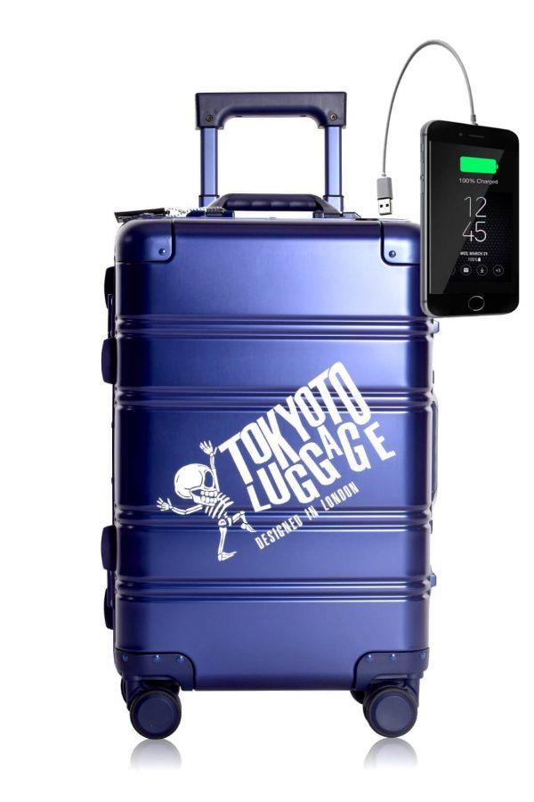 Metal Carry-on Luggage Hartschalen Trolley Koffer Rollkoffer aus hochwertiger Aluminium Legierung mit 4 Rollen und zweifachem TSA-Zahlenschloss BLUE LOGO