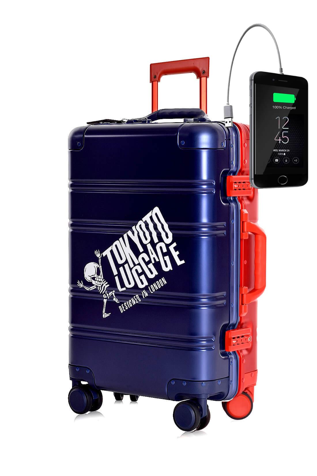 Metal Carry-on Luggage Hartschalen Trolley Koffer Rollkoffer aus hochwertiger Aluminium Legierung mit 4 Rollen und zweifachem TSA-Zahlenschloss BLUE RED