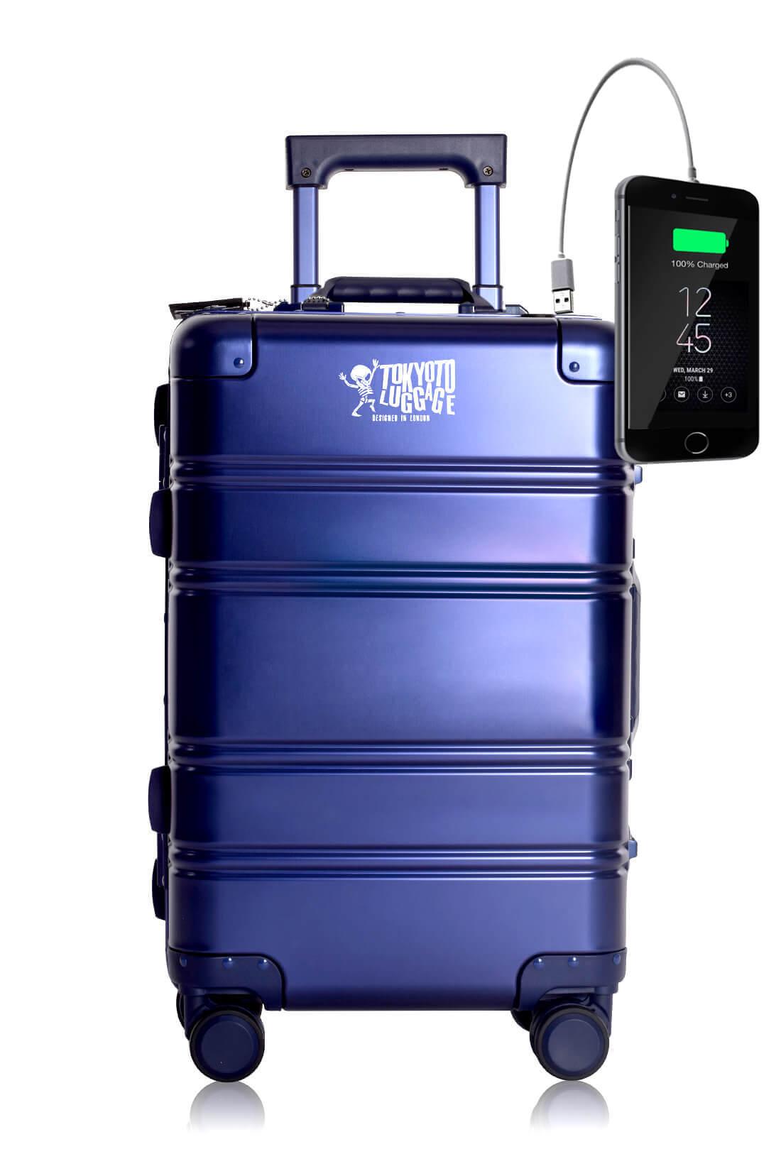 Metal Carry-on Luggage Hartschalen Trolley Koffer Rollkoffer aus hochwertiger Aluminium Legierung mit 4 Rollen und zweifachem TSA-Zahlenschloss BLUE SMALL LOGO