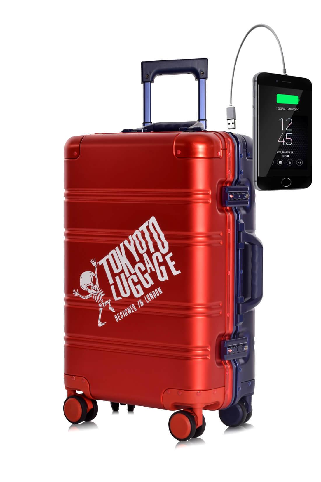 Metal Carry-on Luggage Hartschalen Trolley Koffer Rollkoffer aus hochwertiger Aluminium Legierung mit 4 Rollen und zweifachem TSA-Zahlenschloss RED BLUE