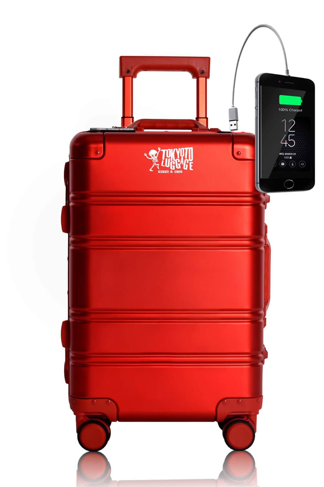 Metal Carry-on Luggage Hartschalen Trolley Koffer Rollkoffer aus hochwertiger Aluminium Legierung mit 4 Rollen und zweifachem TSA-Zahlenschloss RED LOGO