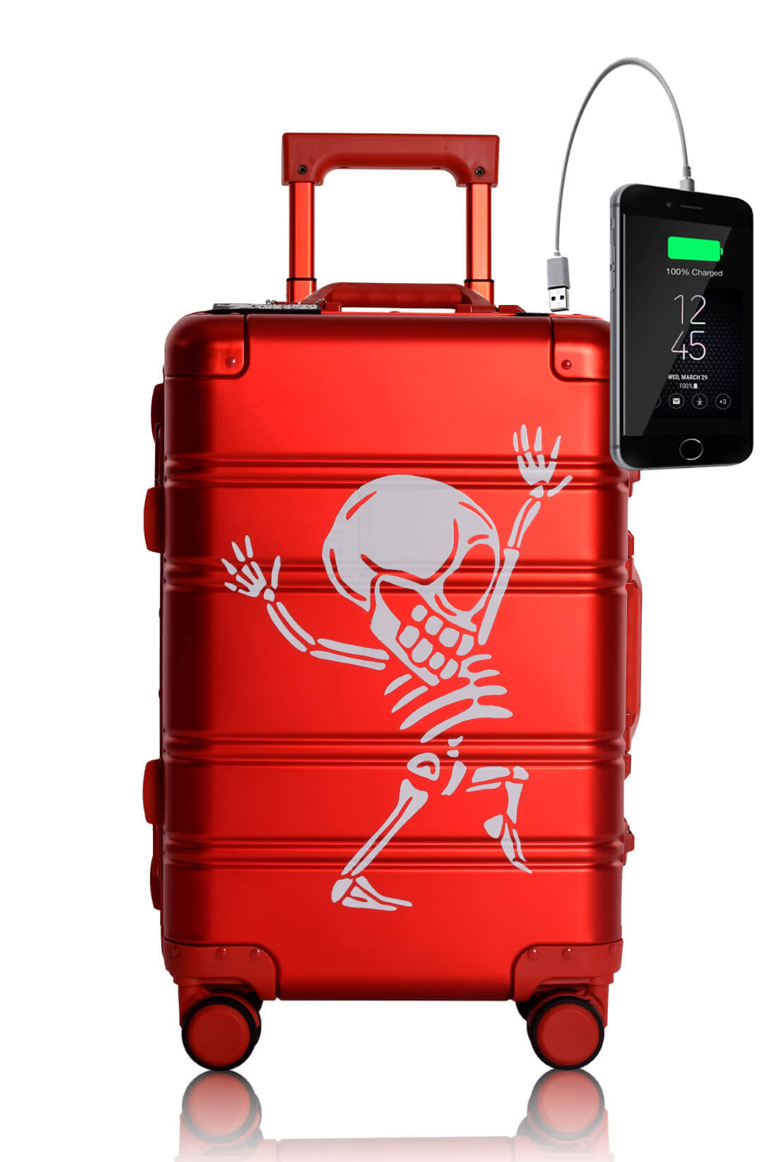 Metal Carry-on Luggage Hartschalen Trolley Koffer Rollkoffer aus hochwertiger Aluminium Legierung mit 4 Rollen und zweifachem TSA-Zahlenschloss RED SKULL