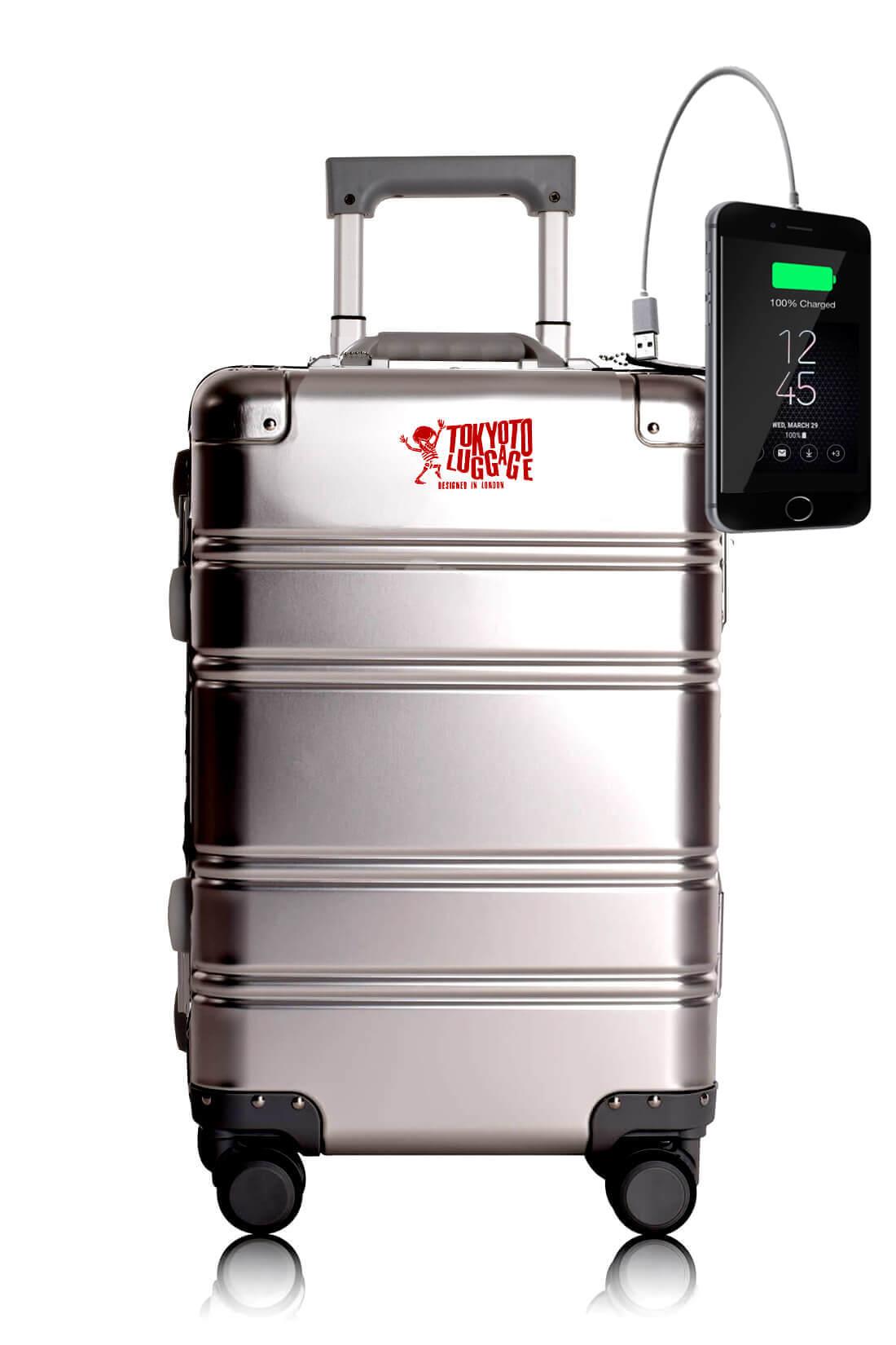 Metal Carry-on Luggage Hartschalen Trolley Koffer Rollkoffer aus hochwertiger Aluminium Legierung mit 4 Rollen und zweifachem TSA-Zahlenschloss SILVER LOGO