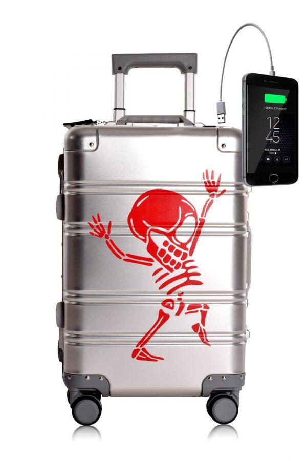 Metal Carry-on Luggage Hartschalen Trolley Koffer Rollkoffer aus hochwertiger Aluminium Legierung mit 4 Rollen und zweifachem TSA-Zahlenschloss SILVER SKULL
